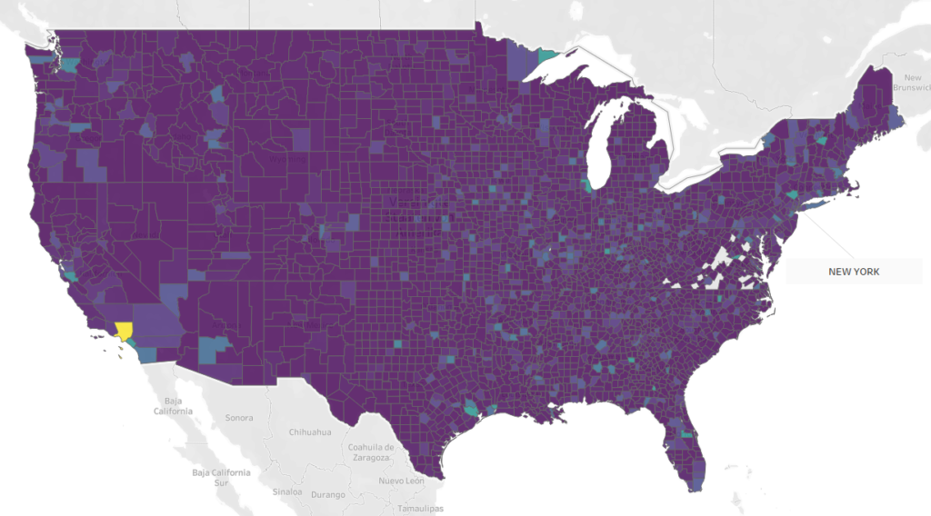 A map showing the GDP of counties in the US.